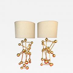 Antonio Cagianelli Contemporary Pair of Lamps Atomic Gold Leaf by Antonio Cagianelli Italy - 531348