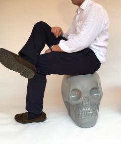 Antonio Cagianelli Contemporary Stool Skull in Grey Ceramic by Antonio Cagianelli - 522006