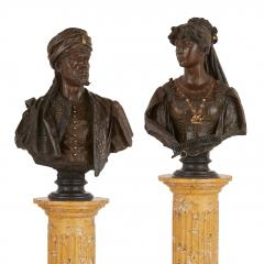 Antonio Giuseppe Garella Pair of bronze busts of Othello and Desdemona by Garella - 1569766