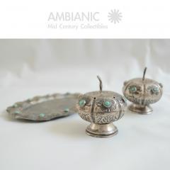 Antonio Pineda Antonio Pineda Salt Pepper Shaker Tray Set Silver Turquoise Fabulous 50s Mexico - 1536673