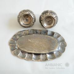 Antonio Pineda Antonio Pineda Salt Pepper Shaker Tray Set Silver Turquoise Fabulous 50s Mexico - 1536674