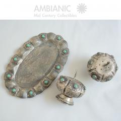 Antonio Pineda Antonio Pineda Salt Pepper Shaker Tray Set Silver Turquoise Fabulous 50s Mexico - 1536675