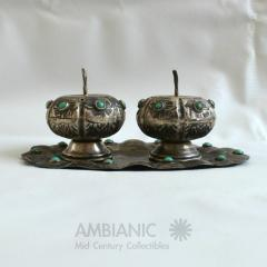 Antonio Pineda Antonio Pineda Salt Pepper Shaker Tray Set Silver Turquoise Fabulous 50s Mexico - 1536676