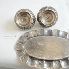 Antonio Pineda Antonio Pineda Salt Pepper Shaker Tray Set Silver Turquoise Fabulous 50s Mexico - 1536677