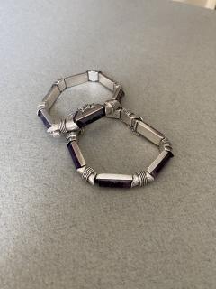 Antonio Pineda Antonio Pineda Sterling Silver and Amethyst Bracelet pair  - 1984978