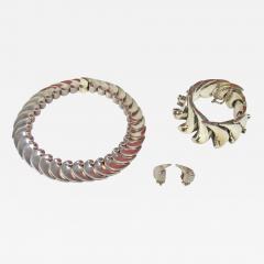 Antonio Pineda Antonio Pineda necklace bracelet earrings set wave design - 1394573