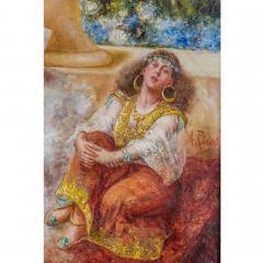 Antonio Rivas A Fine Orientalist Painting Depicting a Sultan s Concubine in the Harem - 1471687