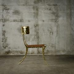 Aqua Klismos Brass Chairs - 648176