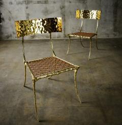 Aqua Klismos Brass Chairs - 648178