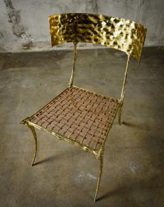 Aqua Klismos Brass Chairs - 648181