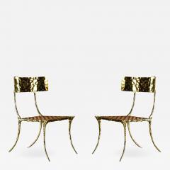 Aqua Klismos Brass Chairs - 648998