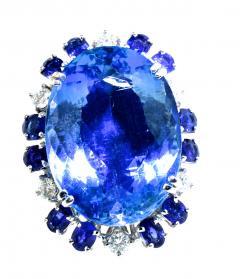 Aquamarine Diamond and Sapphire French circa 1950  - 1201238