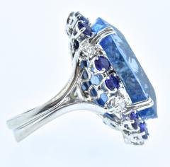 Aquamarine Diamond and Sapphire French circa 1950  - 1201239