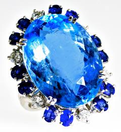 Aquamarine Diamond and Sapphire French circa 1950  - 1201240