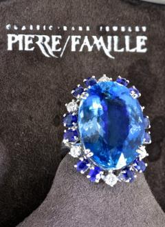 Aquamarine Diamond and Sapphire French circa 1950  - 1201241