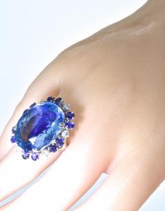 Aquamarine Diamond and Sapphire French circa 1950  - 1201243