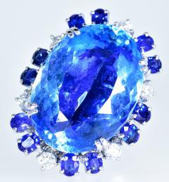 Aquamarine Diamond and Sapphire French circa 1950  - 1201244