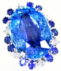 Aquamarine Diamond and Sapphire French circa 1950  - 1201245