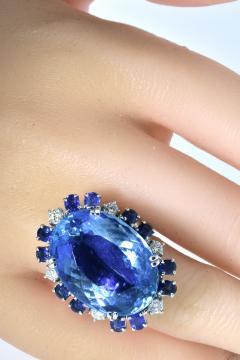 Aquamarine Diamond and Sapphire French circa 1950  - 1201246