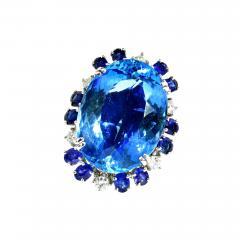 Aquamarine Diamond and Sapphire French circa 1950  - 1201582