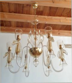 Archimede Seguso Large Murano Chandelier Clear Gold w Horses Decor Italy 1960 - 1868714