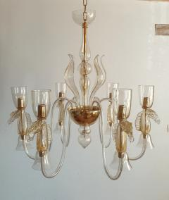 Archimede Seguso Large Murano Chandelier Clear Gold w Horses Decor Italy 1960 - 1868715