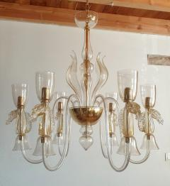 Archimede Seguso Large Murano Chandelier Clear Gold w Horses Decor Italy 1960 - 1868716
