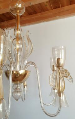 Archimede Seguso Large Murano Chandelier Clear Gold w Horses Decor Italy 1960 - 1868717