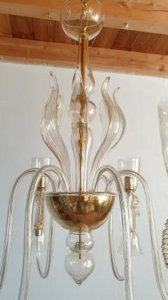 Archimede Seguso Large Murano Chandelier Clear Gold w Horses Decor Italy 1960 - 1868734