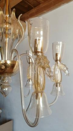 Archimede Seguso Large Murano Chandelier Clear Gold w Horses Decor Italy 1960 - 1868735