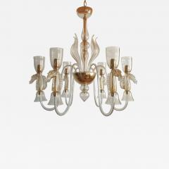 Archimede Seguso Large Murano Chandelier Clear Gold w Horses Decor Italy 1960 - 1875426