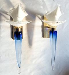 Archimede Seguso Pair of Mid Century Modern blue white Murano glass sconces by Seguso 1970s - 1339636