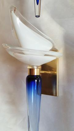 Archimede Seguso Pair of Mid Century Modern blue white Murano glass sconces by Seguso 1970s - 1339637