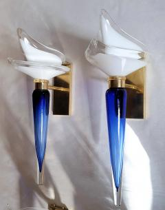 Archimede Seguso Pair of Mid Century Modern blue white Murano glass sconces by Seguso 1970s - 1339738