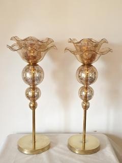 Archimede Seguso Pair of Mid Century Modern flower Murano glass table lamps attributed to Seguso - 1009630