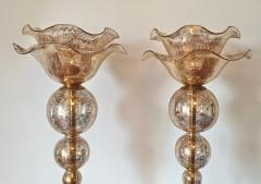 Archimede Seguso Pair of Mid Century Modern flower Murano glass table lamps attributed to Seguso - 1009631