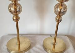 Archimede Seguso Pair of Mid Century Modern flower Murano glass table lamps attributed to Seguso - 1009634
