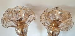 Archimede Seguso Pair of Mid Century Modern flower Murano glass table lamps attributed to Seguso - 1009637
