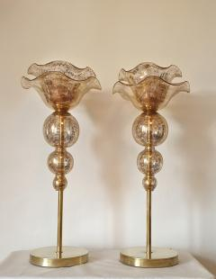 Archimede Seguso Pair of Mid Century Modern flower Murano glass table lamps attributed to Seguso - 1009640