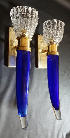 Archimede Seguso Pair of blue clear Mid Century Modern Murano glass sconces Seguso style - 1056351