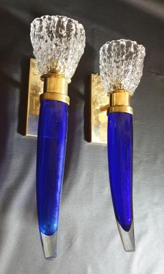 Archimede Seguso Pair of blue clear Mid Century Modern Murano glass sconces Seguso style - 1056353