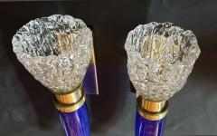 Archimede Seguso Pair of blue clear Mid Century Modern Murano glass sconces Seguso style - 1056357