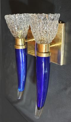 Archimede Seguso Pair of blue clear Mid Century Modern Murano glass sconces Seguso style - 1056358