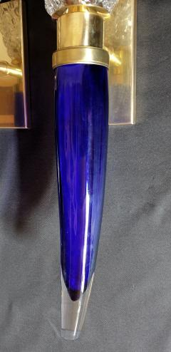Archimede Seguso Pair of blue clear Mid Century Modern Murano glass sconces Seguso style - 1056360