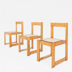 Architectural Asymmetrical Dining Chairs In Pine Wicker 1970s - 846472