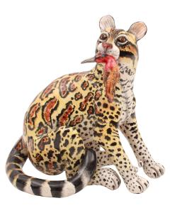 Ardmore Ceramic Art Clouded Leopard Sculpture - 1648731