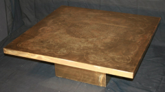 Armand Jonckers Armand Jonckers etched brass square coffee table - 769671