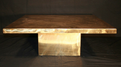 Armand Jonckers Armand Jonckers etched brass square coffee table - 769672