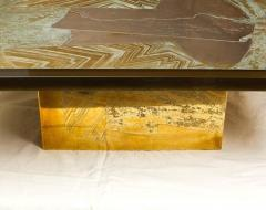 Armand Jonckers Stunning Acid Etched Brass Coffee Table Abstraction by Armand Jonckers - 507342
