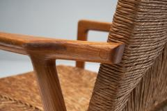 Armchair in Solid Oak and Cane Denmark ca 1960s - 1317671